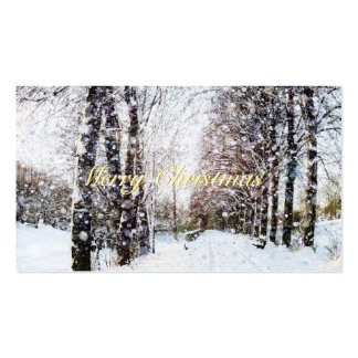 Snow Landscape Merry Christmas Gift Tags Business Card Templates