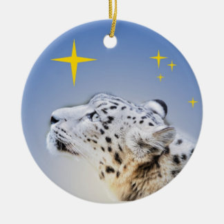 Snow Leopard and The Stars Double-Sided Ceramic Round Christmas Ornament