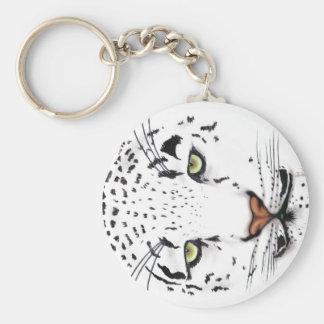 Snow Leopard Basic Round Button Keychain