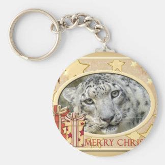 Snow Leopard-BCR-c-148 copy Basic Round Button Keychain