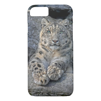 Snow Leopard Beauty (both paws in front) iPhone 7 Case