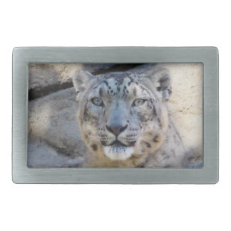 Snow Leopard belt buckle rectangle