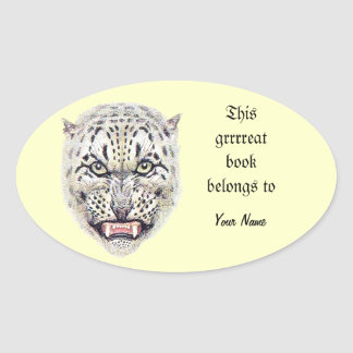 Snow Leopard Bookplate Oval Sticker