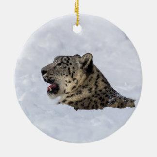 Snow Leopard Buried in Snow Ceramic Ornament