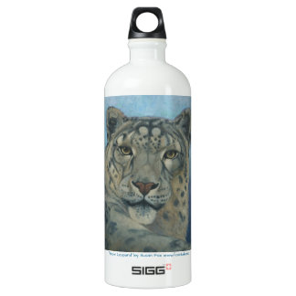 """Snow Leopard"" by Susan Fox Aluminum Water Bottle"