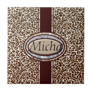 Snow Leopard Champagne Diamond Monogram Tile