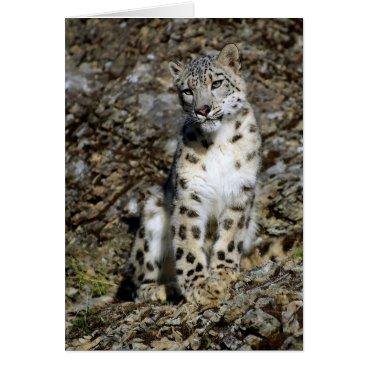 Christmas Themed Snow Leopard - Christmas Card