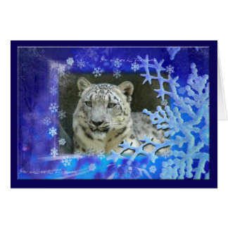 Snow Leopard Christmas Greeting Card