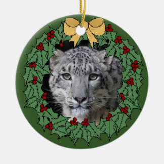 Snow Leopard Conservancy-Asha in Wreath Double-Sided Ceramic Round Christmas Ornament