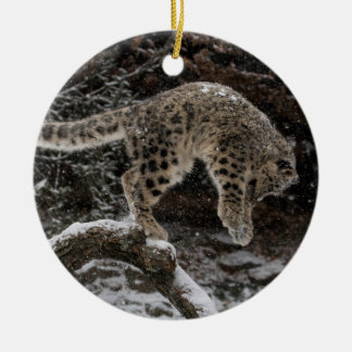 Snow Leopard Cub Pounce Double-Sided Ceramic Round Christmas Ornament