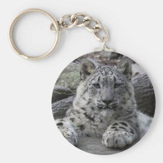 Snow Leopard Cub Sitting Keychain