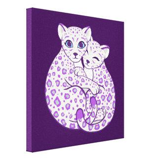 Snow Leopard Cubs Cuddling Art Canvas Print