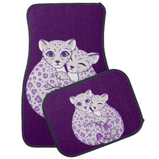 Snow Leopard Cubs Cuddling Art Car Floor Mat