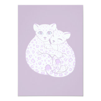 Snow Leopard Cubs Cuddling Art Card
