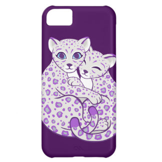 Snow Leopard Cubs Cuddling Art Cover For iPhone 5C