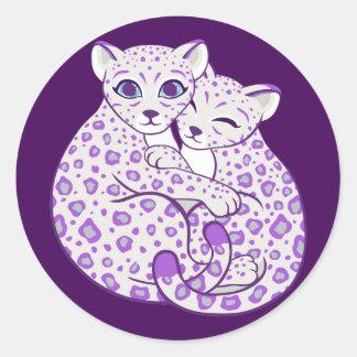 Snow Leopard Cubs Cuddling Art Classic Round Sticker