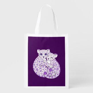 Snow Leopard Cubs Cuddling Art Grocery Bags