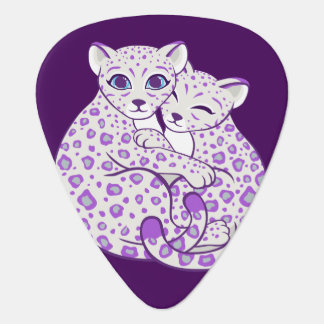 Snow Leopard Cubs Cuddling Art Guitar Pick