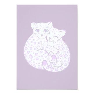 Snow Leopard Cubs Cuddling Art 5x7 Paper Invitation Card