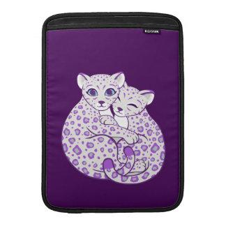 Snow Leopard Cubs Cuddling Art MacBook Sleeve