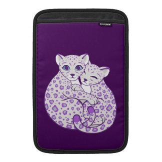 Snow Leopard Cubs Cuddling Art MacBook Sleeves