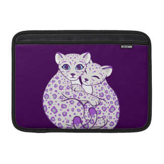 Snow Leopard Cubs Cuddling Art Sleeves For MacBook Air