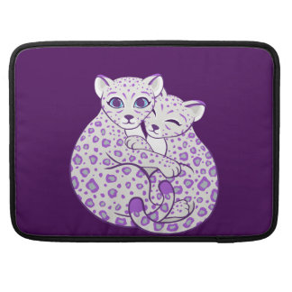Snow Leopard Cubs Cuddling Art Sleeves For MacBook Pro