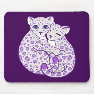 Snow Leopard Cubs Cuddling Art Mouse Pad