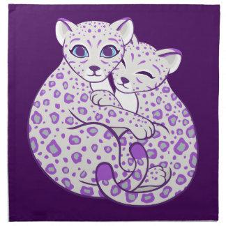 Snow Leopard Cubs Cuddling Art Napkins