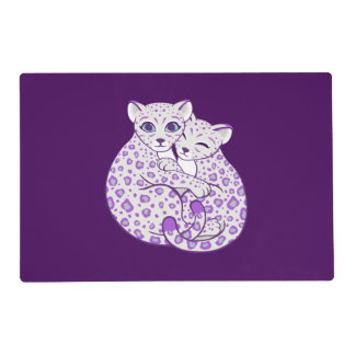Snow Leopard Cubs Cuddling Art Laminated Placemat