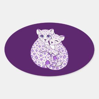 Snow Leopard Cubs Cuddling Art Oval Sticker