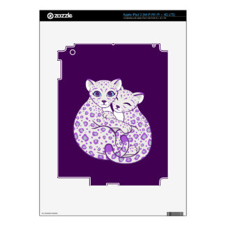 Snow Leopard Cubs Cuddling Art Decals For iPad 3