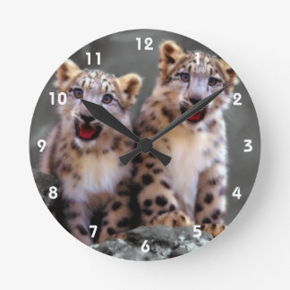 Snow Leopard Cubs Round Clock