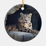 Snow Leopard Double-Sided Ceramic Round Christmas Ornament