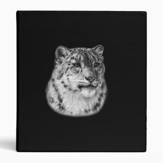 Snow Leopard Drawing 3 Ring Binder