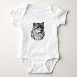 Snow Leopard Drawing Baby Bodysuit