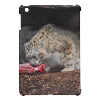 Snow Leopard Eating His Meat Colorful Photo iPad Mini Covers