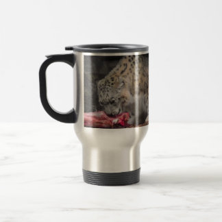 Snow Leopard Eating His Meat Colorful Photo Mugs