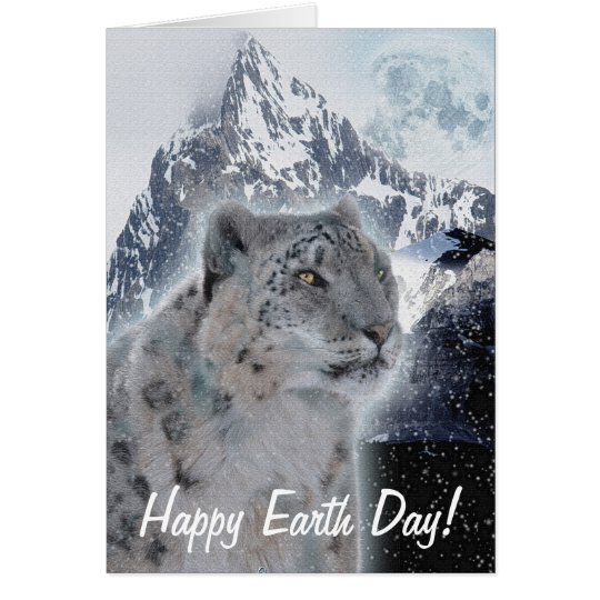 Snow Leopard Endangered Species Earth Day Card
