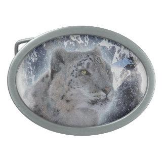 SNOW LEOPARD Endangered Species of Big Cat Belt Buckle