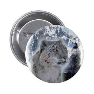 SNOW LEOPARD Endangered Species of Big Cat Buttons