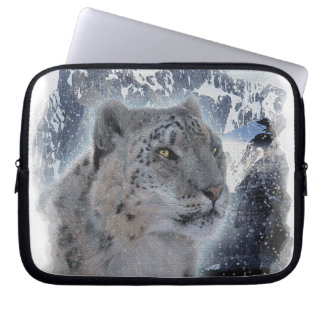 SNOW LEOPARD Endangered Species of Big Cat Computer Sleeve