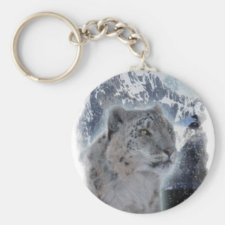 SNOW LEOPARD Endangered Species of Big Cat Keychain