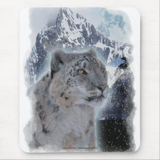 SNOW LEOPARD Endangered Species of Big Cat Mouse Pad