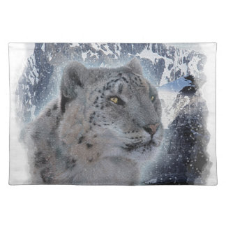 SNOW LEOPARD Endangered Species of Big Cat Placemat