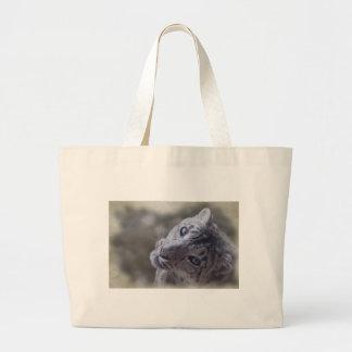 snow leopard face. bag