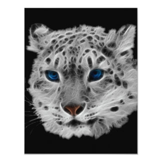 Snow Leopard Fractal Card