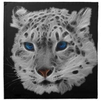 Snow Leopard Fractal Printed Napkins