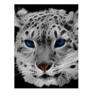 Snow Leopard Fractal Postcard