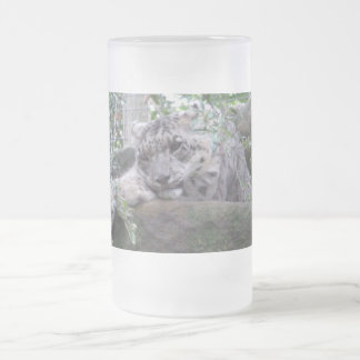 Snow Leopard Frosted Glass Beer Mug